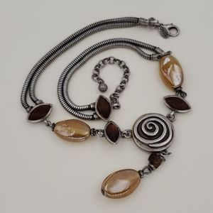 Chico's Silver Abstract Swirl Necklace